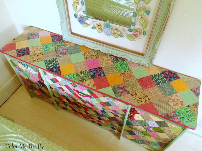 view of decoupaged quilt square dresser top