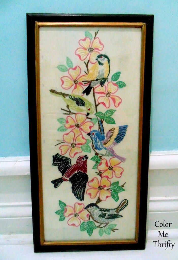 vintage framed needlework flowers and birds