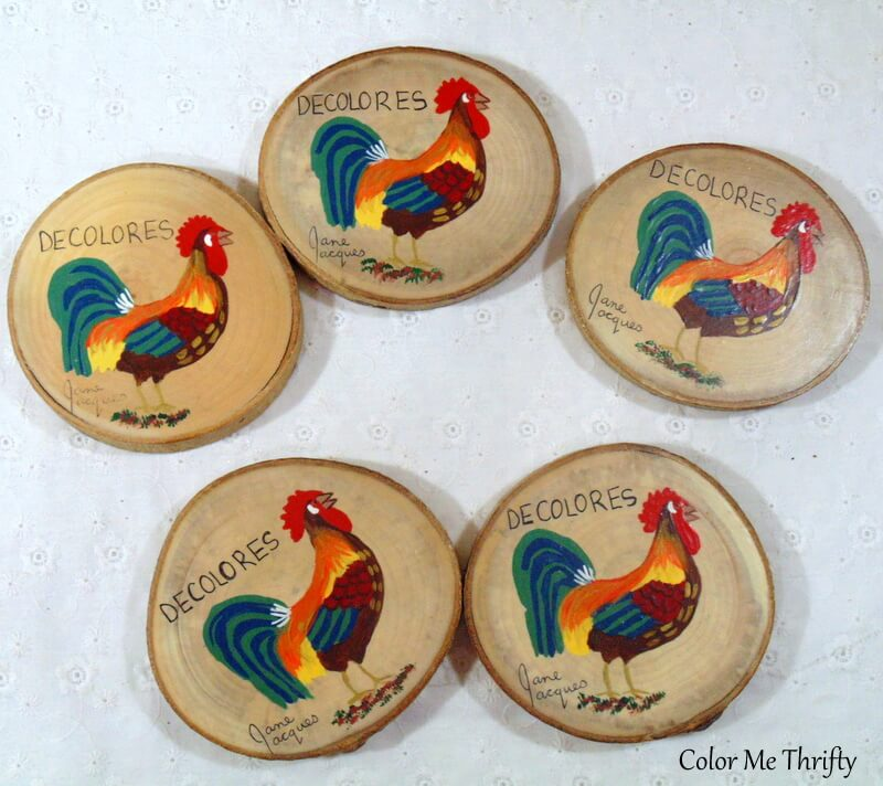wood slice coasters with painted roosters
