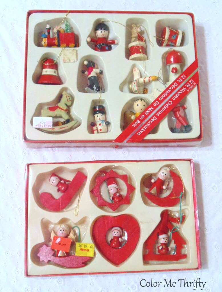2 boxes of vintage wooden hand painted ornaments