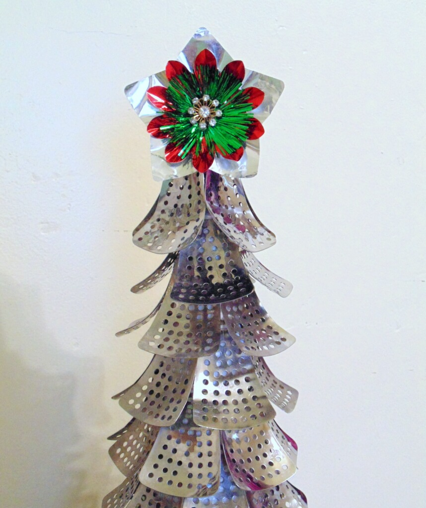 DIY Christmas tree from repurposed folding metal steamer parts