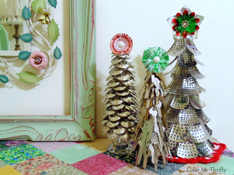 DIY Christmas trees made from repurposed materials