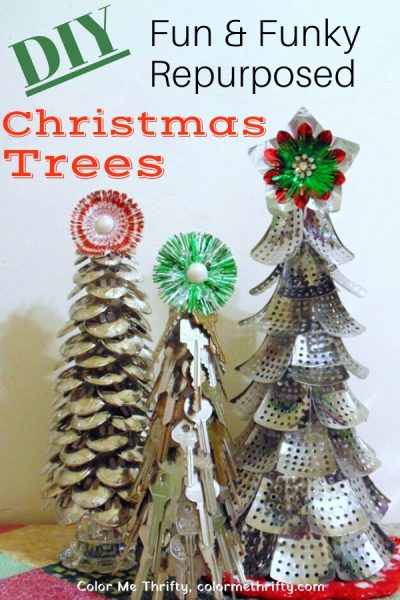 DIY Fun & Funky Christmas trees made from repurposed materials
