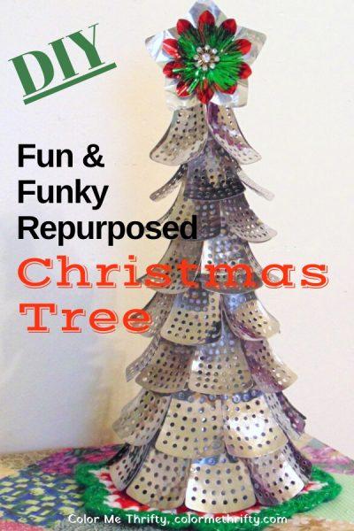 DIY Fun & Funky Repurposed Christmas tree from folding metal steamer parts