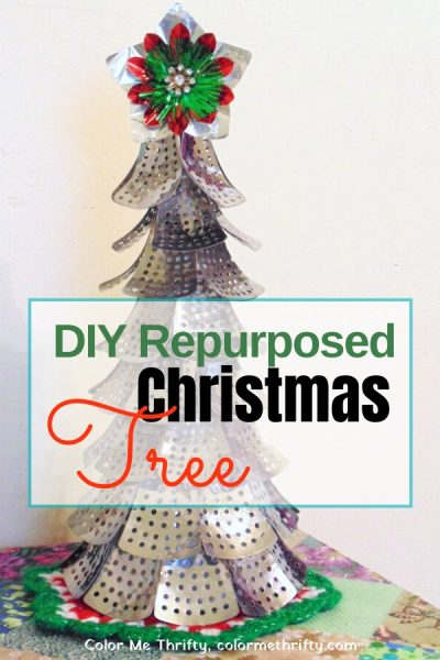 DIY Repurposed Christmas tree project from folding metal steamer parts