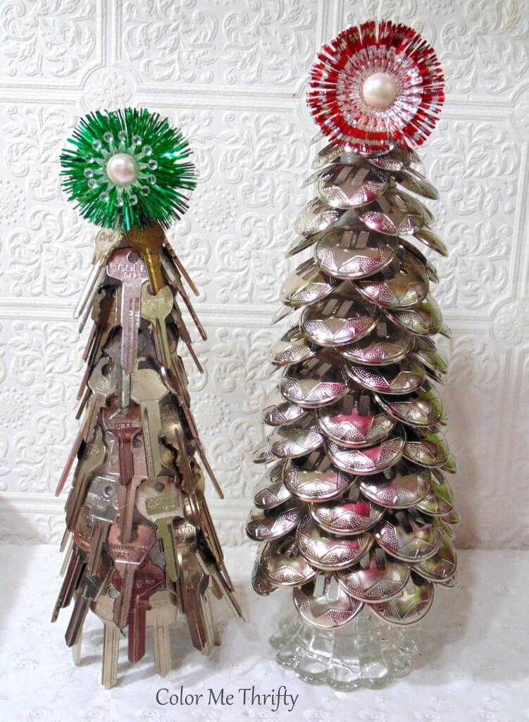 DIY Repurposed Christmas trees made from keys and conchos