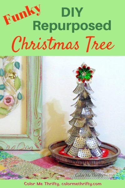 Funky DIY Repurposed Christmas tree from folding metal steamer parts