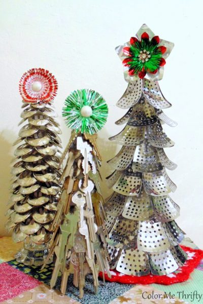 Three DIY Repurposed Christmas trees from steamer parts, keys, and conchos