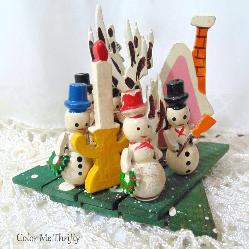Vintage Made in Japan wooden snowman scene