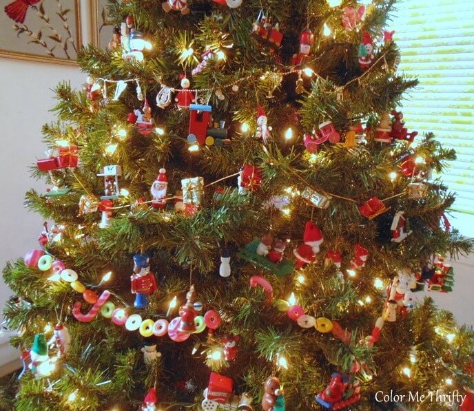 Vintage hand painted wooden ornaments on Christmas tree