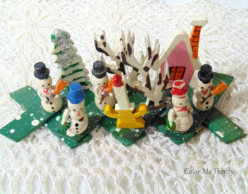 Vintage small expandable wooden snowman scene with pink house and trees