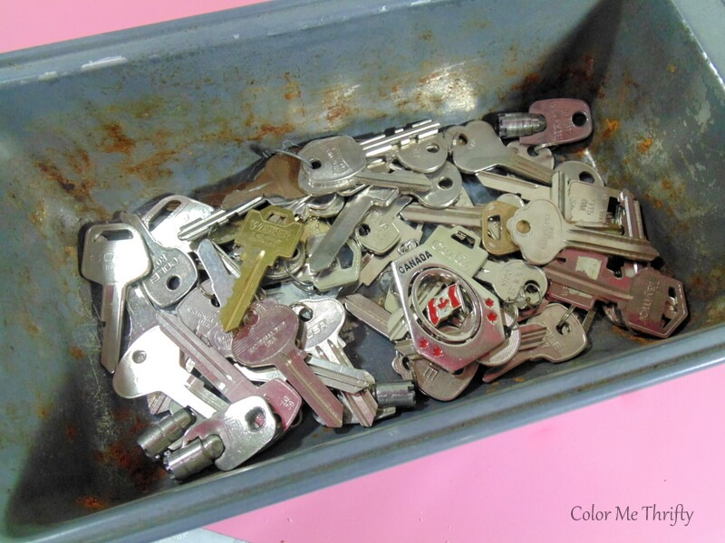 collection of keys to be repurposed as diy Christmas tree