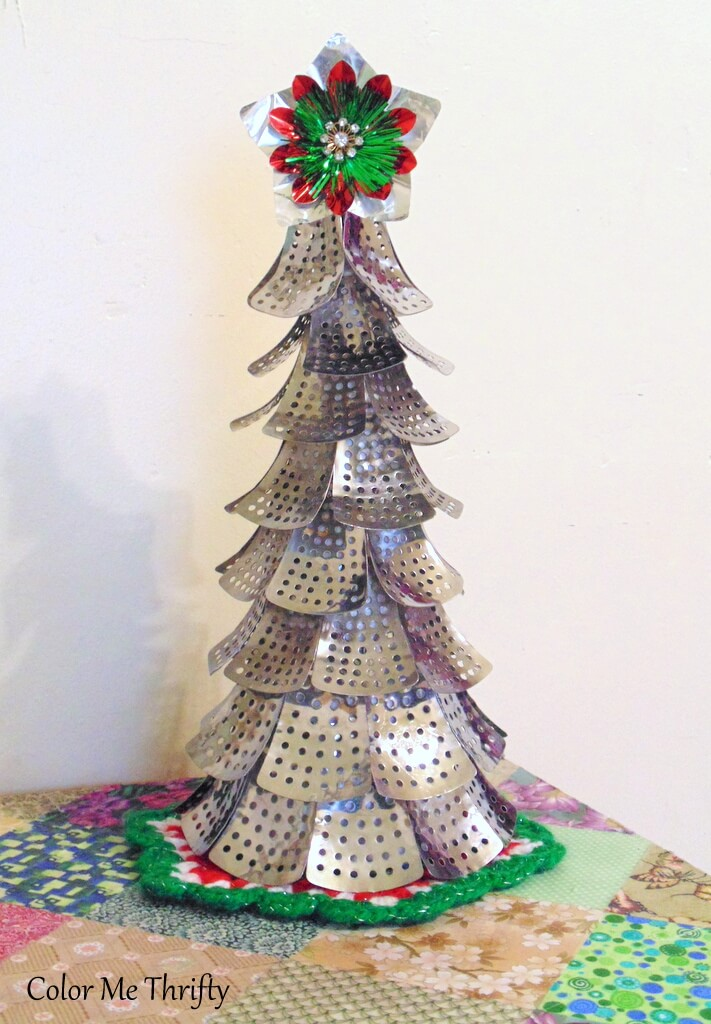 diy repurposed Christmas tree from metal folding steamer parts