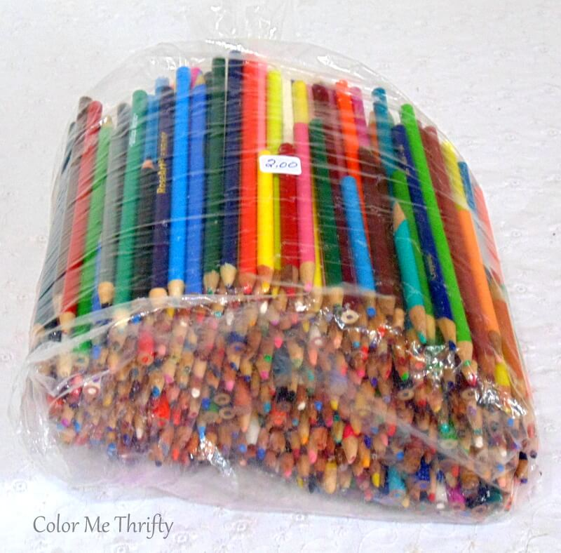 large bag of thrifted pencil crayons