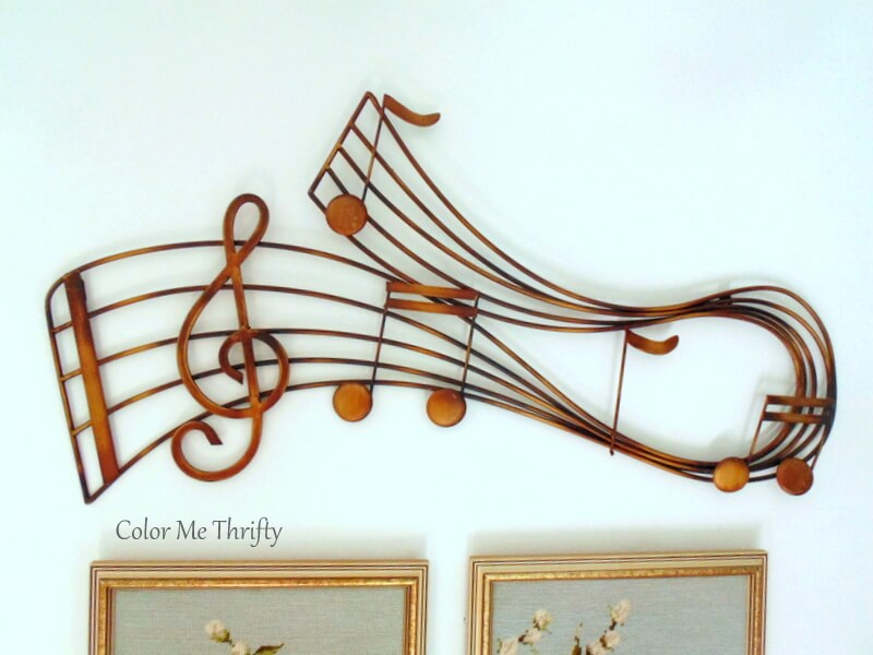 large gold metal musical scale hanging wall decor