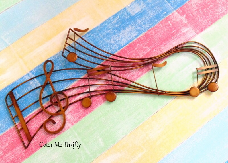 large musical scale hanging wall decor made of gold metal