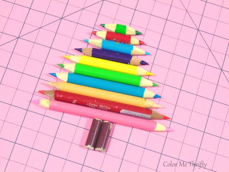 sample fit of diy pencil crayon tree ornament