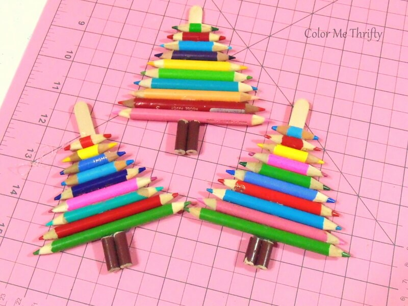 three diy repurposed pencil crayon tree ornaments