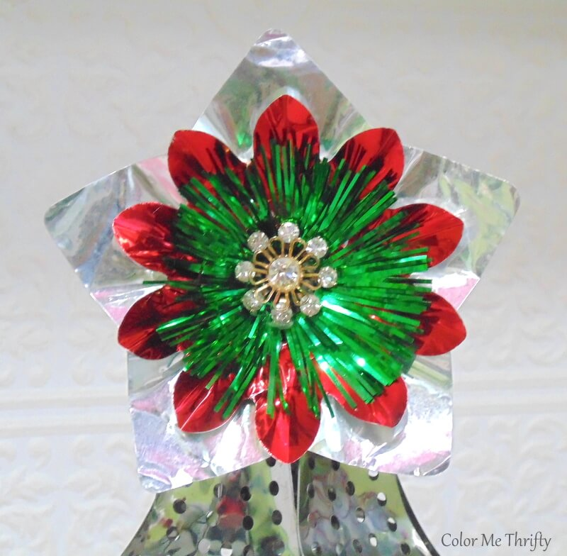 tree topper for repurposed Christmas tree from vintage foil light reflectors and rhinestone stud earring