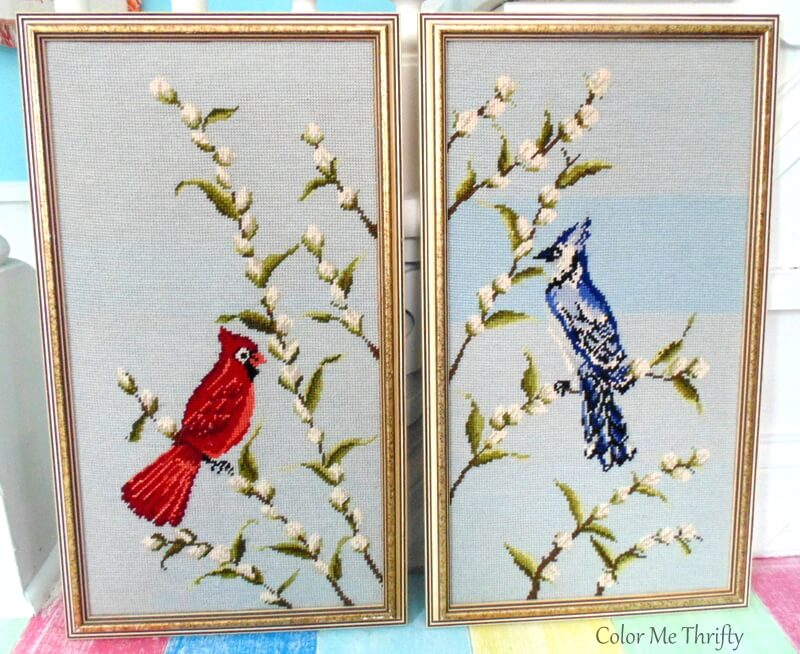 vintage cardinal and blue jay needlepoint pictures 2