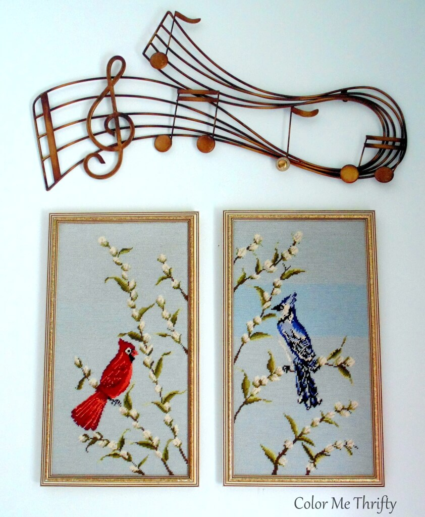 vintage cardinal and blue jay needlepoint pictures with added button to broken note