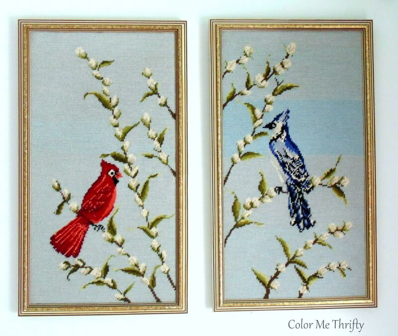 vintage cardinal and blue jay needlepoint pictures