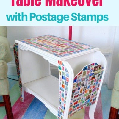 Decoupaged table makeover with used postage stamps to create a mosaic look