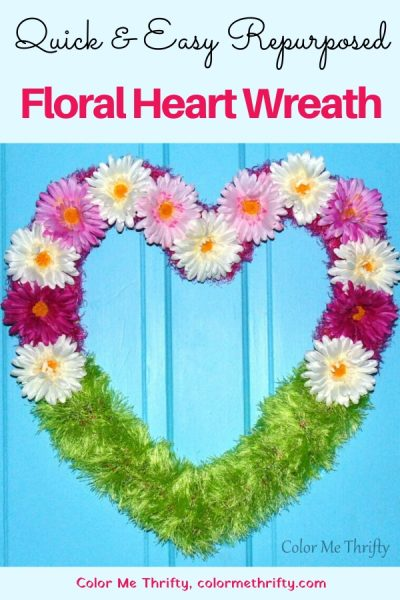 Quick & easy floral heart wreath from repurposed scarves and thrift store flowers