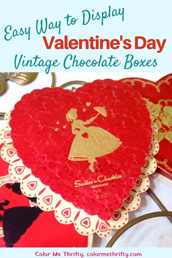 Quick & easy way to display vintage Valentine's Day chocolate boxes in your home decor