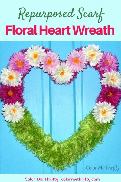 Repurposed scarf Valentines's Day floral heart wreath