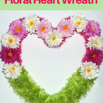 Repurposed scarves floral heart wreath with pink artificial flowers