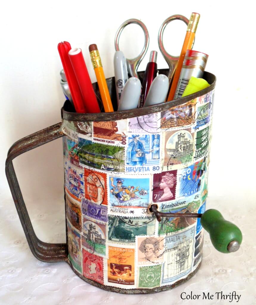 Repurposed vintage metal sifter diy pencil holder