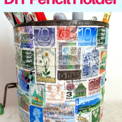 Repurposed vintage sifter decoupaged with postage stamps for DIY pencil holder