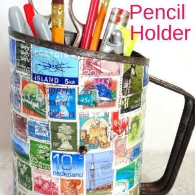 Vintage Sifter decoupaged with stamps to create DIY Pencil Holder