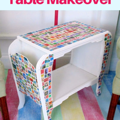 Vintage magazine table makeover with decoupaged stamps