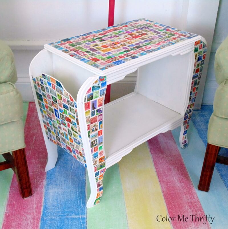 Vintage wooden magazine table makeover with postage stamps
