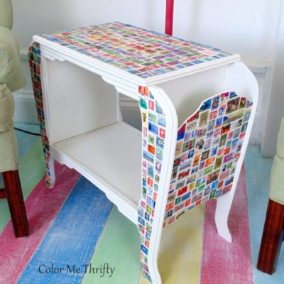 Decoupaged Table Makeover with Postage Stamps