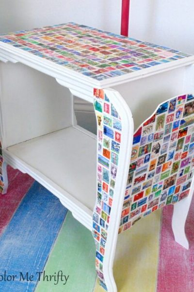 Vintage wooden table makeover with decoupaged postage stamps