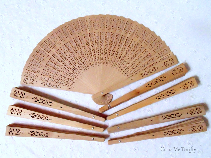 carved sandalwood hand folding fans