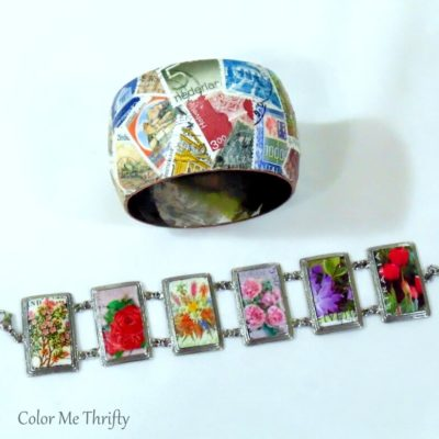Decoupaged Bracelets with Postage Stamps