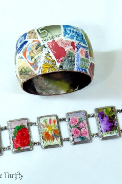 decoupage bracelet makeover with postage stamps 4