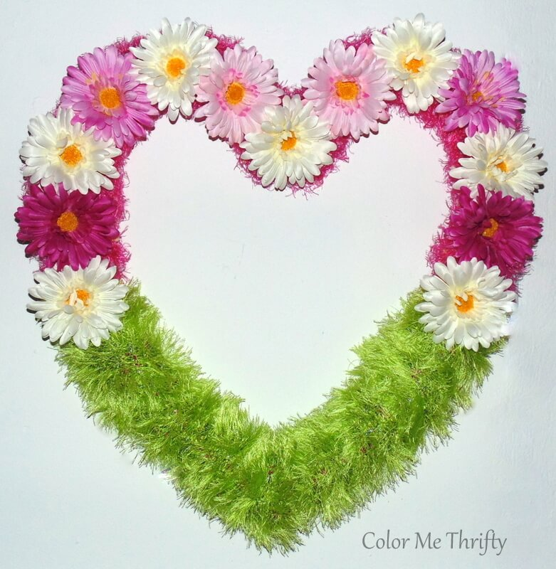 floral heart wreath from repurposed scarves and artificual flowers