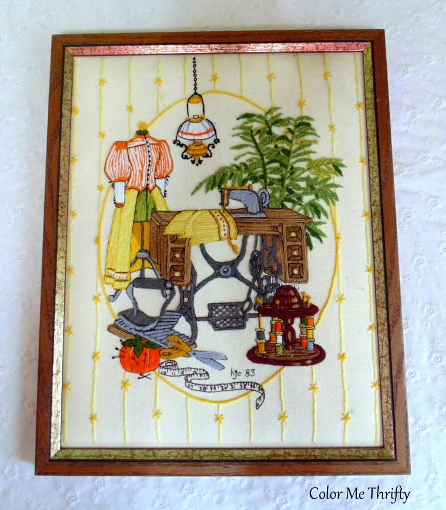 framed vintage sewing room embrodery picture