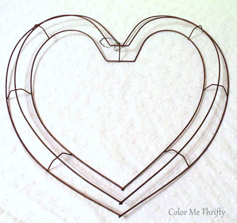 large metal heart wreath frame