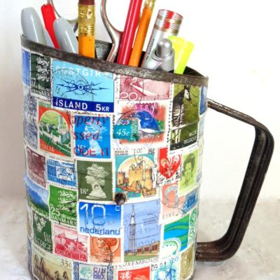 DIY Pencil Holder from Sifter Decoupaged with Stamps