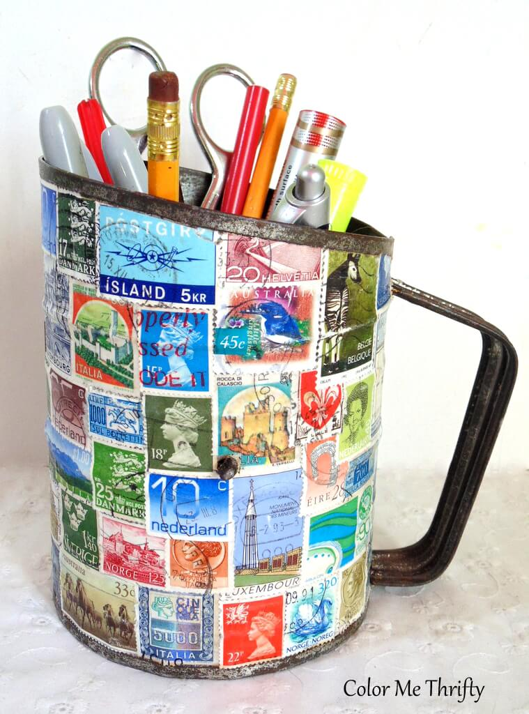 repurposed metal sifter diy pencil holder with decoupaged stamps