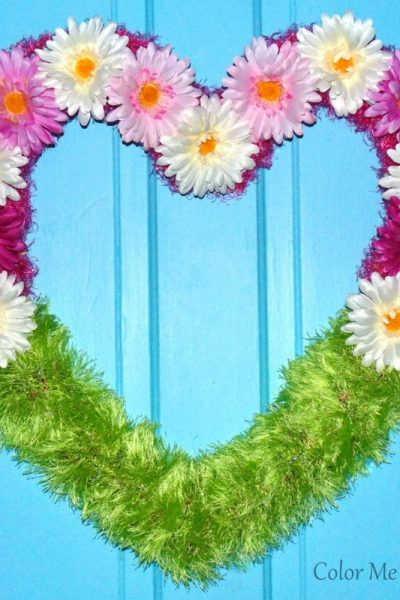 repurposed scarf floral heart wreath