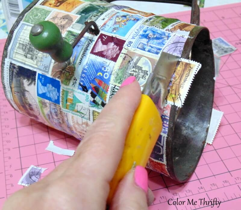 trimming stamps at top of vintage sifter for diy pencil holder