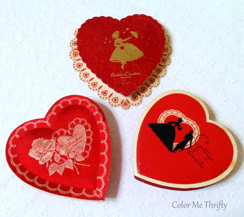 vintage Valentine's Day heart-shaped chocolate boxes