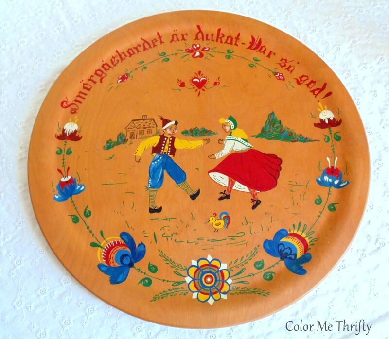 vintage hand painted round wooden picture